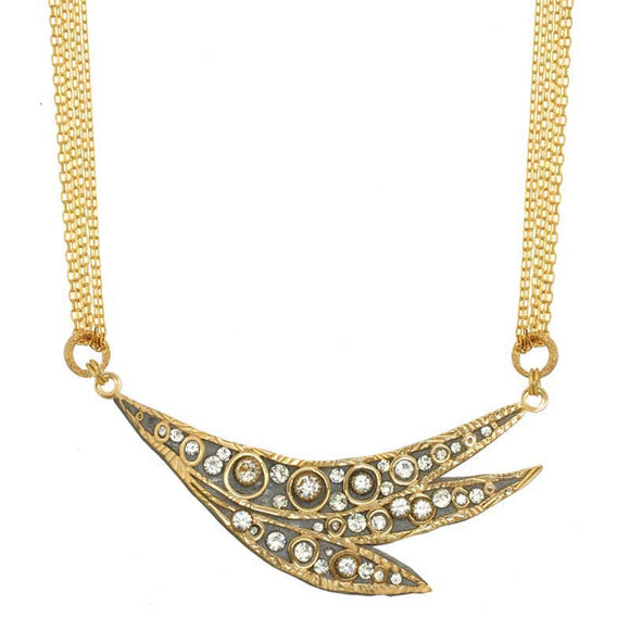 Michal Golan Swarovski Crystal on 24K Gold Plated Brass Necklace Icicle Collection N3738