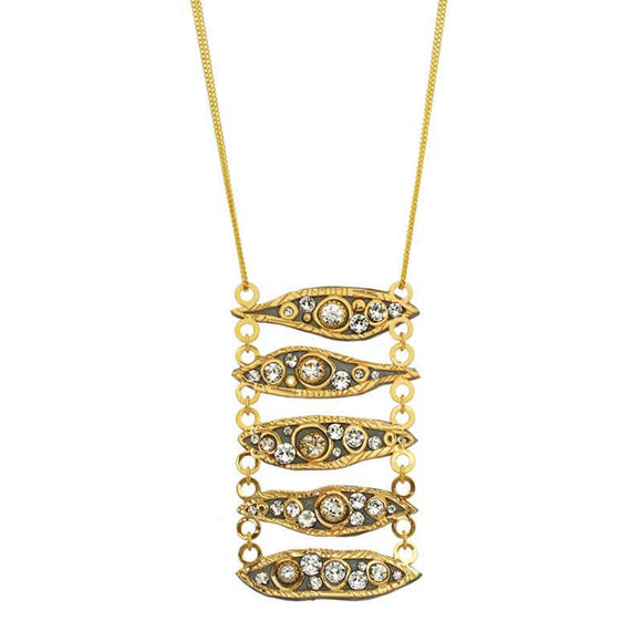 Michal Golan Swarovski Crystal on 24K Gold Plated Brass Necklace Icicle Collection N3739