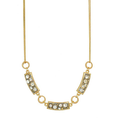 Michal Golan Swarovski Crystal on 24K Gold Plated Brass Necklace Icicle Collection N3744