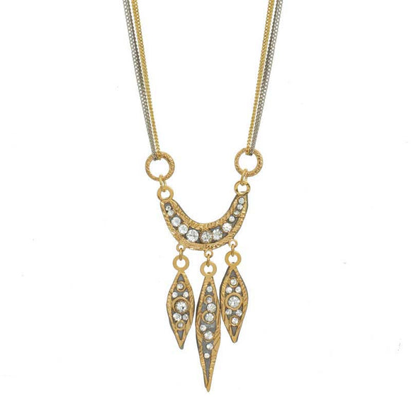 Michal Golan Swarovski Crystal on 24K Gold Plated Brass Necklace Icicle Collection N3747