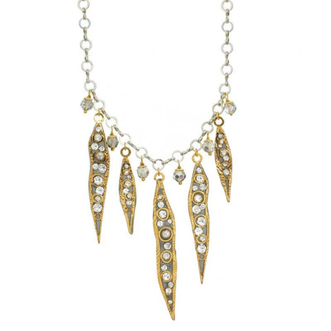 Michal Golan Swarovski Crystal on 24K Gold Plated Brass Necklace Icicle Collection N3753