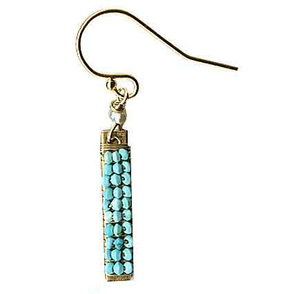 Michelle Pressler Bars Earrings 4934 with Turquoise Artistic Artisan Designer Jewelry