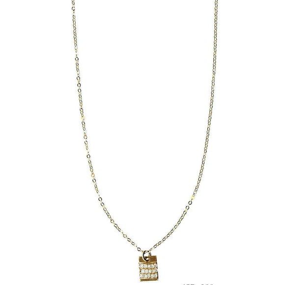 Michelle Pressler Bars Necklace 4986 with White Natural Zircon Artistic Artisan Designer Jewelry