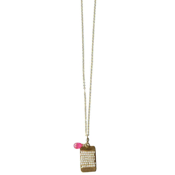 Michelle Pressler Bars Necklace 4988 A with Pink Sapphire and Natural Zircon Artistic Artisan Designer Jewelry