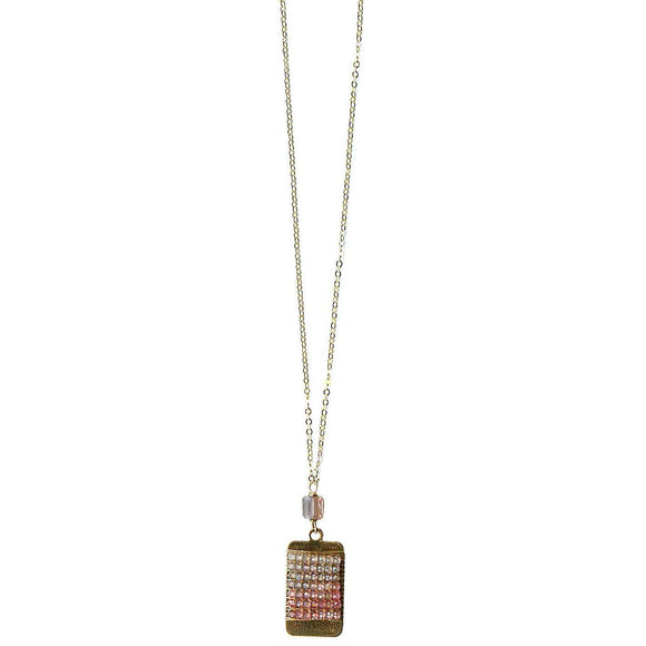 Michelle Pressler Bars Necklace 4988 with Multi Colored Spinel Artistic Artisan Designer Jewelry