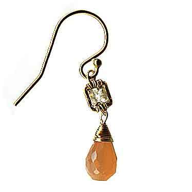 Michelle Pressler Box Earrings 4226 with White Natural Zircon and Peach Moonstone Artistic Artisan Designer Jewelry