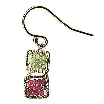 Michelle Pressler Box Earrings 4243 B with Green Kyanite and Ruby Artistic Artisan Designer Jewelry