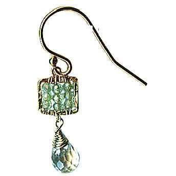 Michelle Pressler Jewelry Box Earrings 4244 B B with Green Kyanite and Aquamarine Briolet Artistic Artisan Designer Jewelry