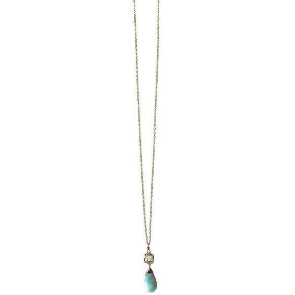Michelle Pressler Box Necklace 4222 with White Natural Zircon and Larimar Artistic Artisan Designer Jewelry