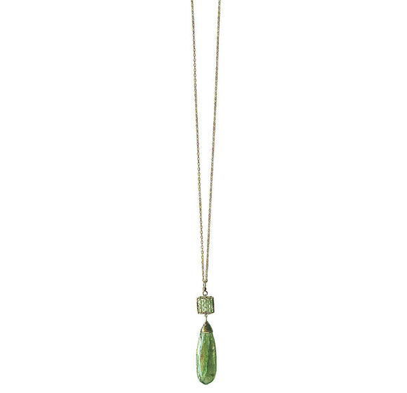Michelle Pressler Box Necklace 4240 with Green Kyanite Artistic Artisan Designer Jewelry