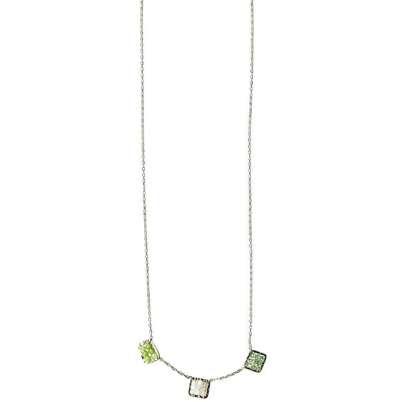 Michelle Pressler Box Necklace 4242 B with Green Kyanite Medley Artistic Artisan Designer Jewelry