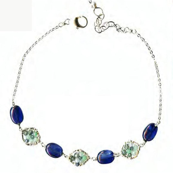 Michelle Pressler Jewelry Bracelet 5103 with Sapphire Opal and Kyanite Artistic Artisan Crafted Jewelry