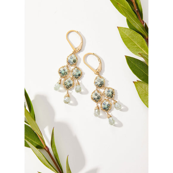 Michelle Pressler Jewelry Chandelier Earrings 5111G with Australian Sapphire Green Opal and Aquamarine Drops Artistic Artisan Crafted Jewelry