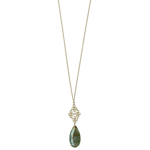 Michelle Pressler Clovers Necklace 4721 with Australian Opal and Labradorite Artistic Artisan Designer Jewelry
