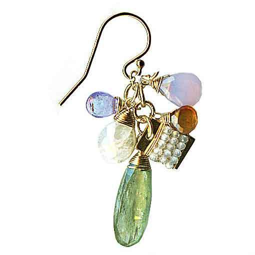 Michelle Pressler Jewelry Clusters Earrings 5009 with Green Kyanite and Multi Gemstones Artistic Artisan Designer Jewelry