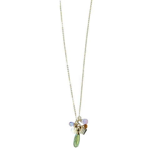 Michelle Pressler Clusters Necklace 5010 with Green Kyanite and Multicolored Gemstones Artistic Artisan Designer Jewelry
