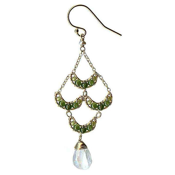 Michelle Pressler Jewelry Crescent Earrings 4210 A with Green Jade and Moonstone Artistic Artisan Designer Jewelry