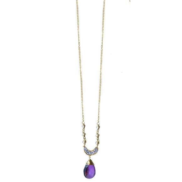 Michelle Pressler Crescent Necklace 4202 A with Tanzanite and Amethyst Artistic Artisan Designer Jewelry