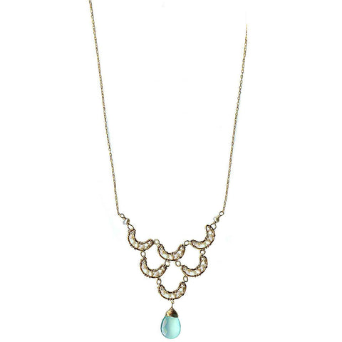 Michelle Pressler Crescent Necklace 4205 with Australian Opal and Aqua Chalcedony  Artistic Artisan Designer Jewelry
