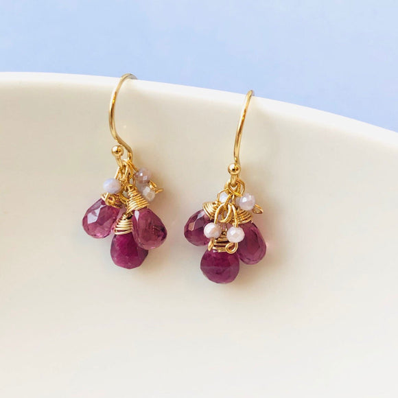 Michelle Pressler Jewelry Earrings 2691A with Malaia Garnet Ruby Drops Artistic Artisan Crafted Jewelry