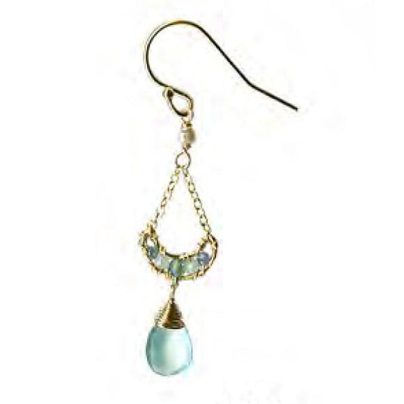Michelle Pressler Jewelry Earrings 4207 with Sapphire Opal and Chalcedony Artistic Artisan Crafted Jewelry
