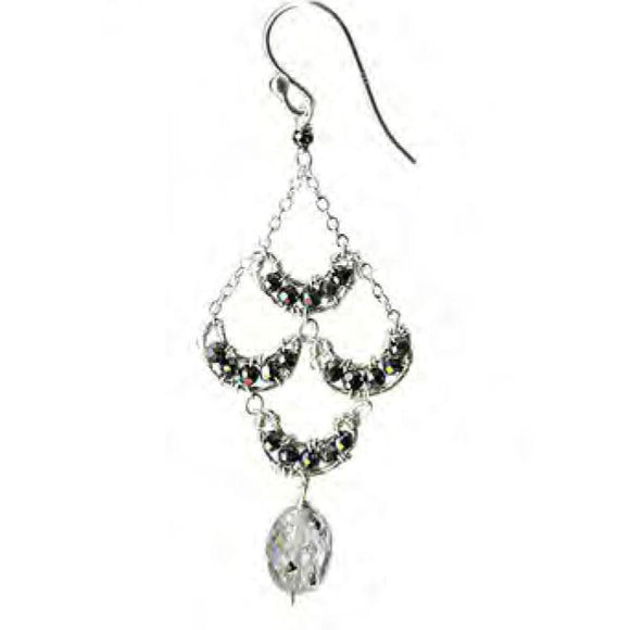 Michelle Pressler Jewelry Beaded Crescent Earrings 4210A with Hematite and Black Rutilated Quartz Artistic Artisan Crafted Jewelry