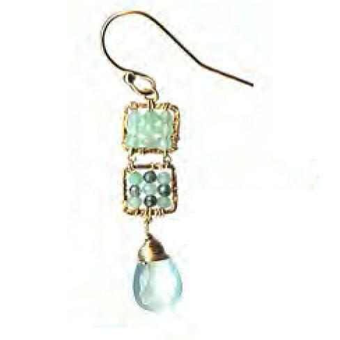 Michelle Pressler Jewelry Earrings 4244C EAR with Opal and Australian Sapphire Artistic Artisan Crafted Jewelry