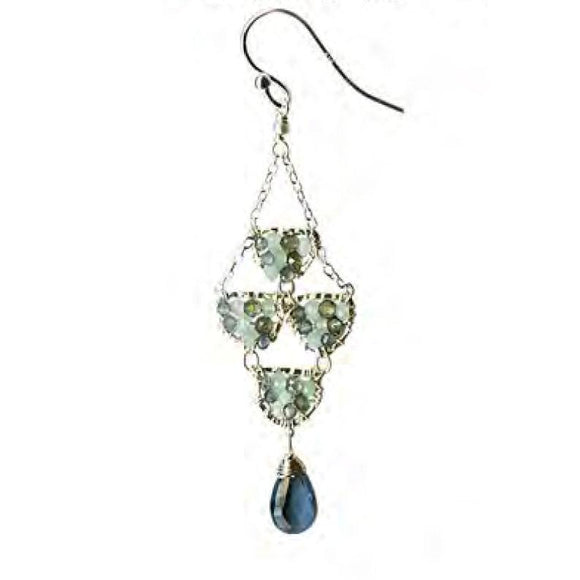 Michelle Pressler Jewelry Earrings 4629A with Sapphire Opal and London Blue Topaz Artistic Artisan Crafted Jewelry