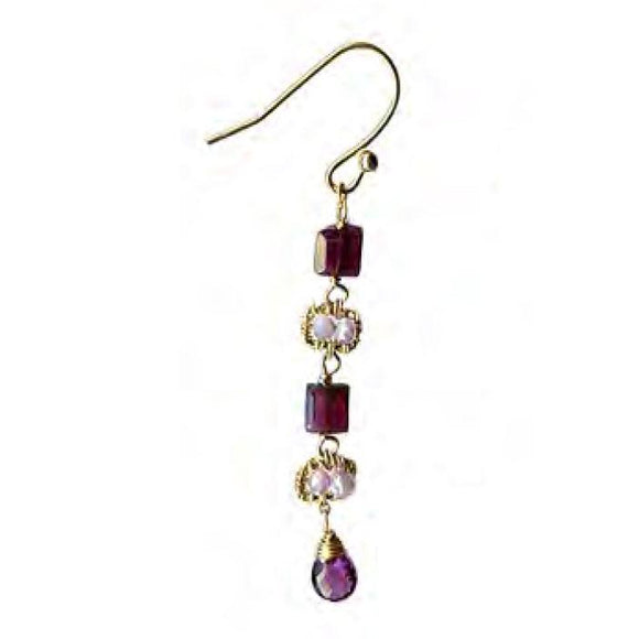 Michelle Pressler Jewelry Earrings 4679A with Garnet Lavender and Moonstone Artistic Artisan Crafted Jewelry