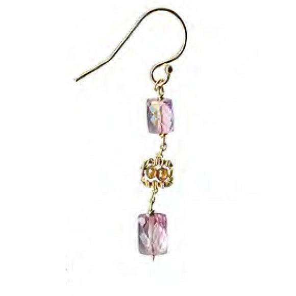 Michelle Pressler Jewelry Earrings 4680 with Pink Topaz and Zircon Artistic Artisan Crafted Jewelry