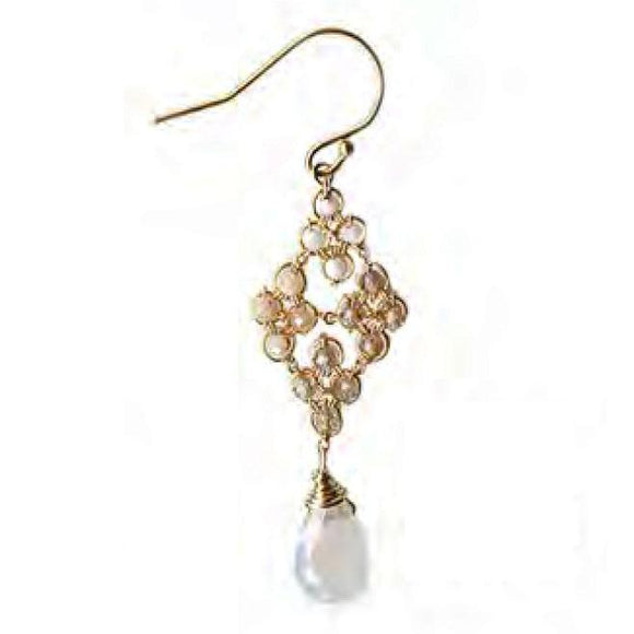 Michelle Pressler Jewelry Earrings 4717 with Opal and White Moonstone Artistic Artisan Crafted Jewelry