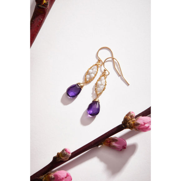 Michelle Pressler Jewelry Earrings 4755 with Blue Lace Agate White Natural Zircon and Amethyst Drops Artistic Artisan Crafted Jewelry