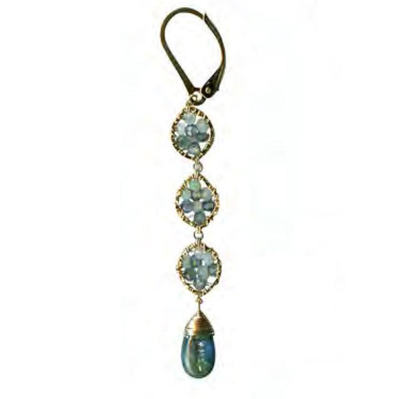 Michelle Pressler Jewelry Earrings 5061D with Sapphire Opal and Kyanite Artistic Artisan Crafted Jewelry