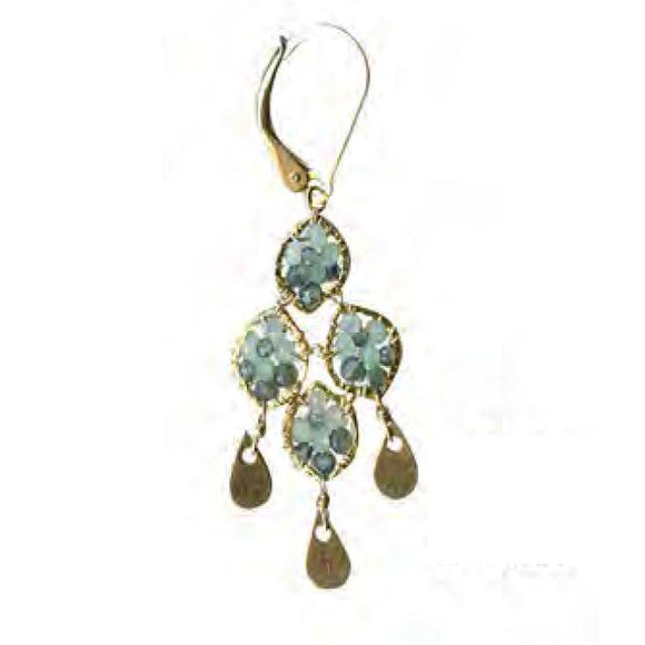 Michelle Pressler Jewelry Earrings 5062 with Australian Sapphire and Opal and Artistic Artisan Crafted Jewelry