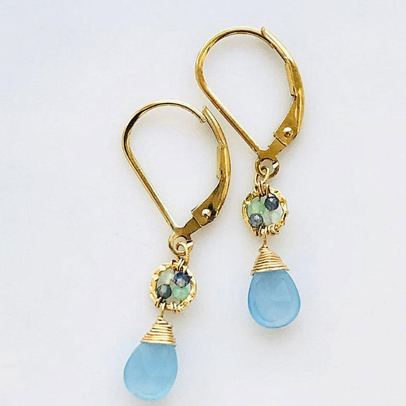 Michelle Pressler Jewelry Earrings 5083 with Green Opal Australian Sapphire Beads and Blue Chalcedony Drops Artistic Artisan Crafted Jewelry