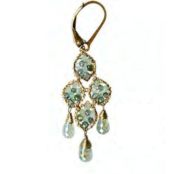 Michelle Pressler Jewelry Earrings 5111D with Sapphire Opal Aquamarine Artistic Artisan Crafted Jewelry