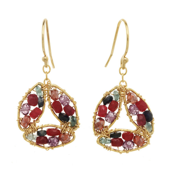 Michelle Pressler Earrings Amethyst and Ruby 2846, Artistic Artisan Designer Jewelry