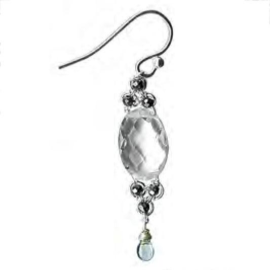Michelle Pressler Jewelry Crystal Quartz Pyrite Earrings 4804 Artistic Artisan Designer Jewelry
