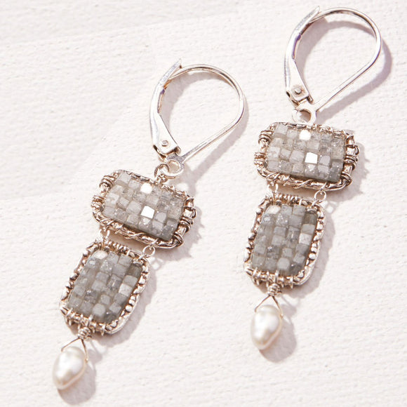 Michelle Pressler Jewelry Earrings D22 with Diamonds and Pearls Artistic Artisan Crafted Jewelry