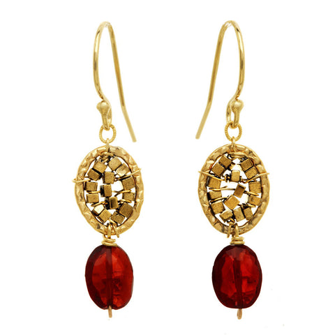 Michelle Pressler Earrings Garnet 3092, Artistic Artisan Designer Jewelry