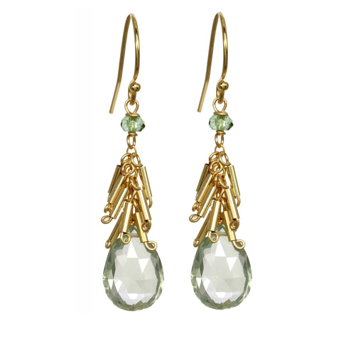 Michelle Pressler Earrings Green Amethyst and Fringe 2514, Artistic Artisan Designer Jewelry