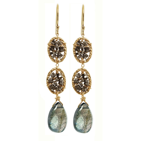 Michelle Pressler Earrings Hematite and Labradorite 3025, Artistic Artisan Designer Jewelry