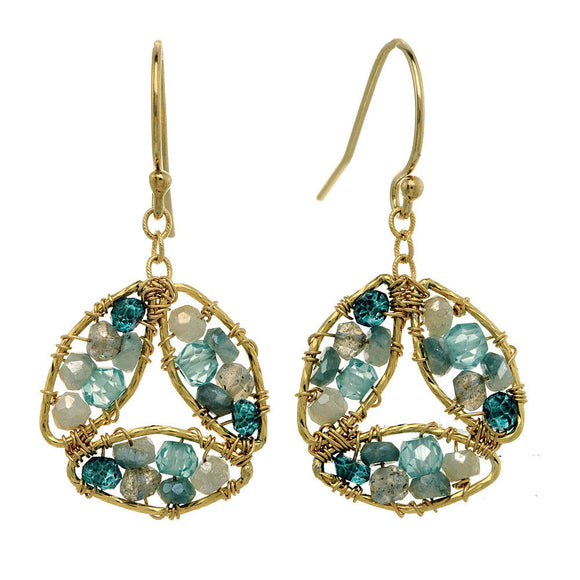 Michelle Pressler Earrings Labradorite and Blue Tourmaline 2846, Artistic Artisan Designer Jewelry
