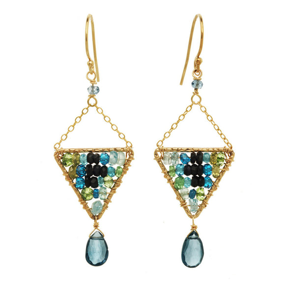 Michelle Pressler Earrings Labradorite and Blue Tourmaline 2912, Artistic Artisan Designer Jewelry