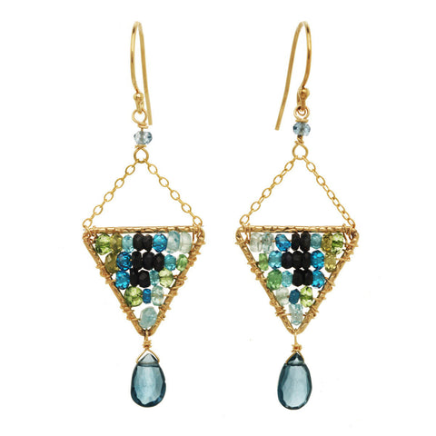 Michelle Pressler Jewelry Earrings Labradorite and Blue Tourmaline 2912, Artistic Artisan Designer Jewelry