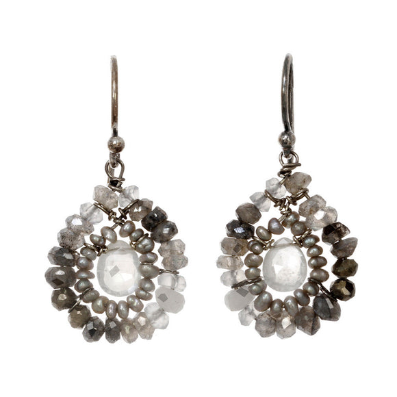 Michelle Pressler Jewelry Earrings Labradorite and Pearl 2362, Artistic Artisan Designer Jewelry