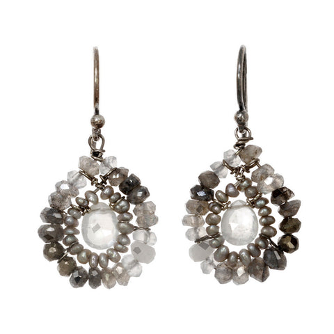 Labradorite and Pearl Earrings 2362 by Michelle Pressler