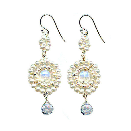 Michelle Pressler Jewelry Earrings Moonstone Pearl and White Topaz B15, Artistic Artisan Designer Jewelry