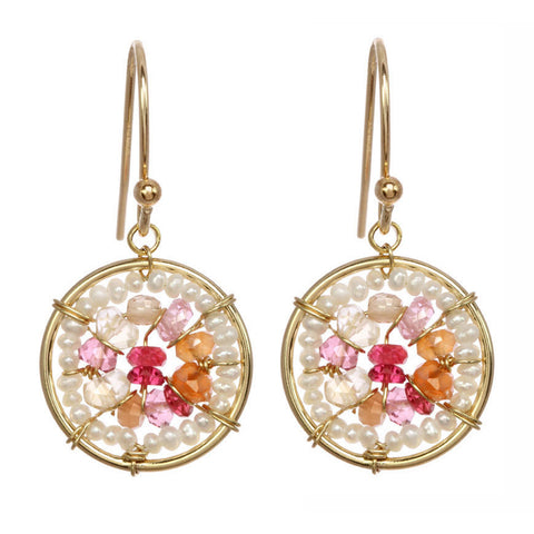 Michelle Pressler Earrings Pink Quartz and Carnelian Circles 2489, Artistic Artisan Designer Jewelry