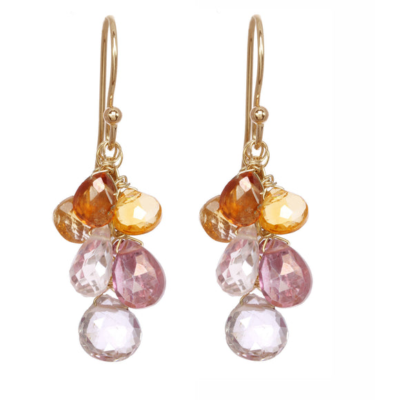 Michelle Pressler Jewelry Earrings Pink Quartz and Carnelian Clusters 2506, Artistic Artisan Designer Jewelry